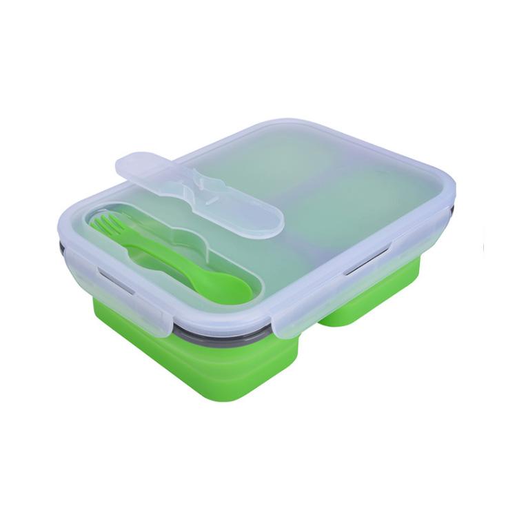 创意折叠三格硅胶便当饭盒